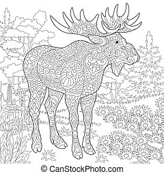 Coloring page of moose