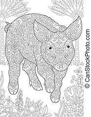 Coloring page of pig