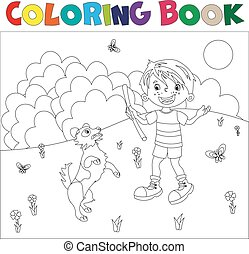 Coloring page outline cartoon boy with dog.