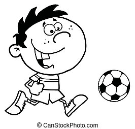 Boy Running After A Ball - Coloring Page Outline Of A...