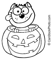 Outline Of A Happy Cat In A Pumpkin