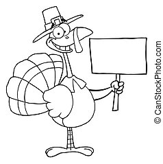 Turkey Bird Holding A Blank Sign - Coloring Page Outline Of...