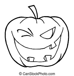 Coloring Page Outline Of A Toothy Halloween Pumpkin Winking