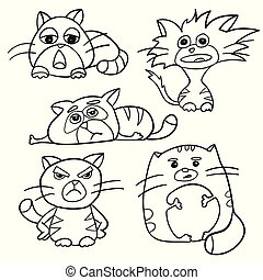 Coloring Page Outline Of cartoon fluffy cats. Coloring book for kids