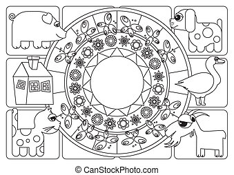 Coloring page placemats on the table