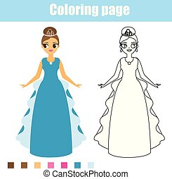 Coloring page princess. Educational game. Printable activity for toddlers