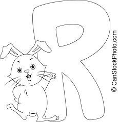 Coloring Page Illustration Featuring a Rabbit