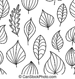 Coloring Page Seamless Pattern with Fall.