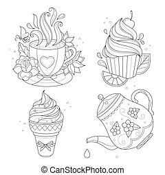 Coloring page set. Cupcake, ice cream, tea pot, cup.