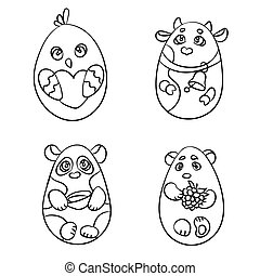 Coloring page set of 4 cute animals in a shape of Easter egg. There are a cow, a chicken, cute panda and white bear