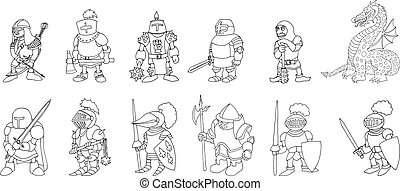 Coloring page set of cartoon medieval knights prepering for Knight Tournament