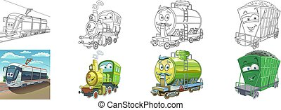 Coloring page set with cars for kids