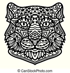 Coloring Page snow leopard with ethnic doodle patterned illustration.