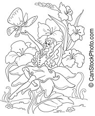 coloring page Thumbelina sitting on a flower - Thumbelina...