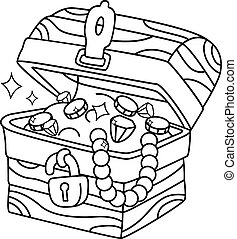 Coloring Page Treasure Chest - Illustration of a Ready to...