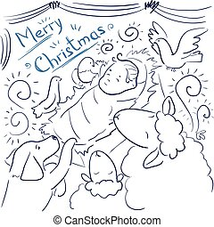 Coloring page - Vector greeting card Merry Christmas