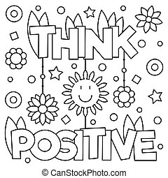 Inspirational coloring page. Black and white vector illustration.
