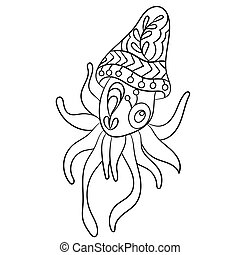Coloring page vector with calmary animal in ornaments