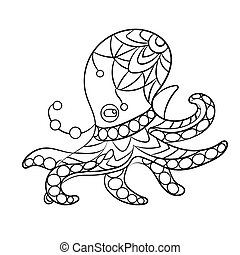 Coloring page vector with octopus animal in ornaments