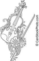 Coloring page - violin and bow with flowers , leafs in floral mehendi doodle style