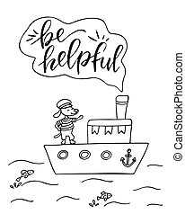 Coloring page with a ship and dog. Be helpful.