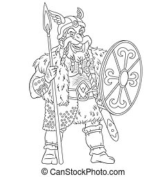 coloring page with ancient viking warrior