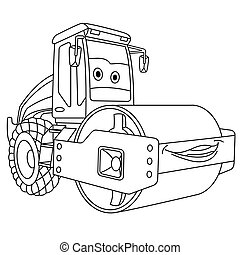 Coloring page. Colouring picture. Cute cartoon asphalt paver. Road roller machine. Childish design for kids coloring book.
