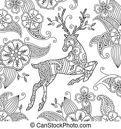 Coloring page with beautiful running deer and floral background.