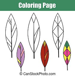 Coloring page with bird feathers. Children educational game, drawing kids activity