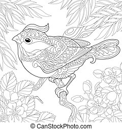 Coloring page. Colouring picture with beautiful bird sitting on the tree branch. Line art sketch design with doodle and zentangle elements.