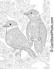 Coloring page. Colouring picture with two birds among flowers. Line art sketch design with doodle and zentangle elements.