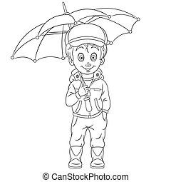 Coloring page. Cute cartoon boy with umbrella.