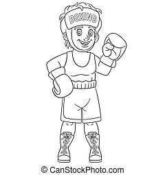 coloring page with boy boxer fighting
