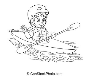 coloring page with boy canoeing