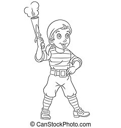 Coloring Page. Colouring picture with cartoon pirate. Childish design about people professions.