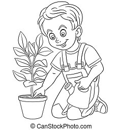 Coloring Page. Colouring picture with cartoon boy taking care of a plant. Childish design about people lifestyle.