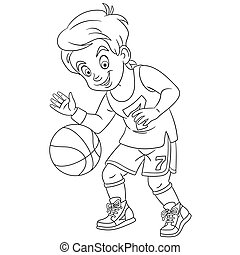 coloring page with boy playing basketball