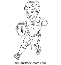 coloring page with boy playing rugby