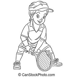 coloring page with boy playing tennis
