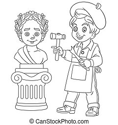 coloring page with boy sculptor