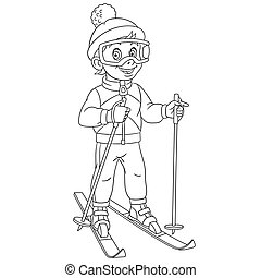 coloring page with boy skiing