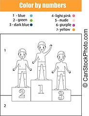 Coloring page with boys sport team. Color by numbers