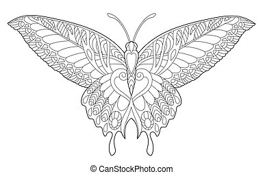 Coloring page with butterfly