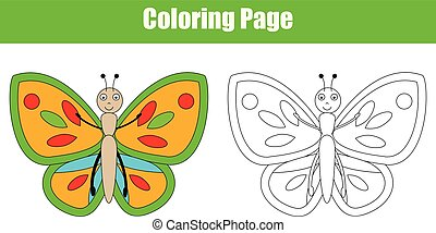 Coloring page with butterfly, kids activity