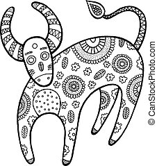 Coloring page with cartoon cow