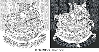Coloring page with cat