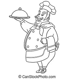coloring page with chef cook