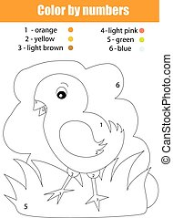 Coloring page with chicken. Color by numbers