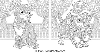 coloring page with chihuahua and dachshund dogs