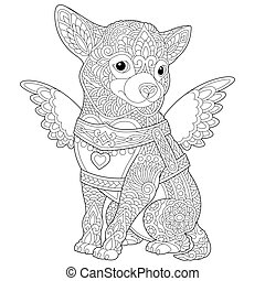 coloring page with chihuahua dog